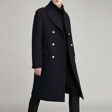 Men's Fall Winter Wool Jacket Double breasted Overcoat Over Knee Outwear Slim
