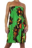 Ladies Tunic Dress Top Floral Print Green 8-16