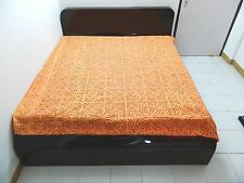 INDIAN APPLIQUE CUTTING WORK KING SIZE BEDSHEET BED COVER BED SPREAD TAPESTRY