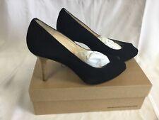 Unisa Black Retal Kid Suede Peep Toe Shoes EU41 Boxed RRP £95 - C5
