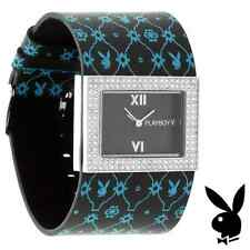 NEW RARE Playboy Watch S Ladies Black Leather Silver Stainless Steel Women Blue