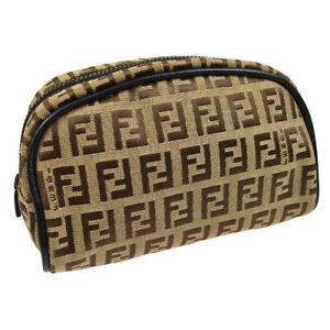 FENDI Zucchino Pattern Cosmetic Pouch Bag Purse Brown Beige Nylon Leather 36704