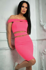 Ladies Pink Crop top Cut Out of the shoulder Mini Skirt bodycon Party dress  10