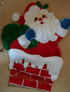 "Finished/ completed  Bucilla ""Kris Kringle"" Felt Christmas Card Holder"