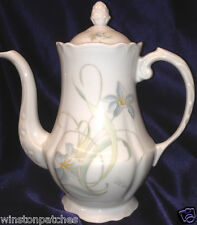 GALERIE OF FRANCE LIMOGES COFFEE/TEAPOT 44 OZ WHITE WITH FLOWERS