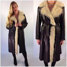 Vintage 70s Revillon Boutique Paris Fur Leather Coat Jacket Brown M/L