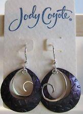 Jody Coyote Earrings JC0663 new silver purple orchid SMC219-01 dangle 2