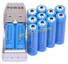 12 piles AA Bleu Couleur+Chargeur USB Ni-MH AA/AAA Rechargeable Batterie 3000mAh