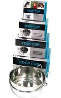 STAINLESS STEEL TOUGH METAL COOP CUP SMALL ANIMAL BIRD DOG CRATE FOOD WATER BOWL