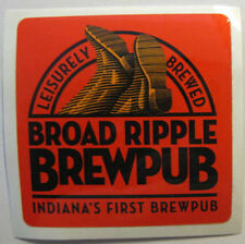 BROAD RIPPLE BREWPUB Beer STICKER Label w/ Upturned BOOTS, Indianapolis, INDIANA