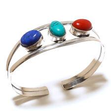 Beautiful Silver Overlay Multi Cuff Bangel  Handmade Gemstone Jewelry