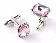 Gift Bag + Vintage Pink Crystal cuff links Silver Plated Classic Cufflinks RCT02