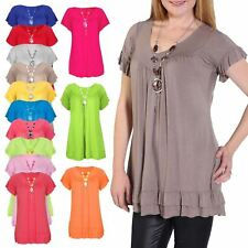 Womens FRILL NECKLACE GYPSY Tunic Short Sleeve Long ladies V Neck Tops size 8-22