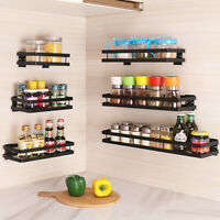 BLACK SPICE RACK KITCHEN STORAGE WALL MOUNTED STAINLESS STEEL SHELF SOLID 1 TIER