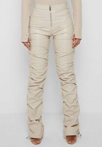 Women's MANIÈRE DE VOIR Tacked Vegan Leather Flared Trousers Pants Beige Sz 10