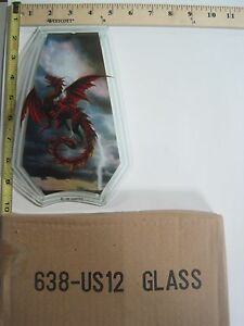 FREE US SHIP OK Touch Lamp Replacement Glass Panel Red Dragon Flying 638-US12
