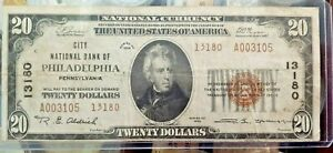 $20 1929 (Philadelphia Pennsylvania ) National Currency Bank Note Bill Ch #13180