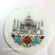 "8"" White Round Marble Wall Plate Marquetry Taj Mahal Inlaid Art Kitchen Decor"