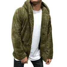 Mens Teddy Bear Fleece Fur Hoodie Coat Fluffy Button Sweater Outwear Winter Warm