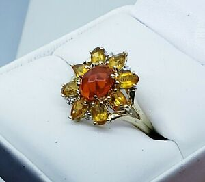 9k Yellow gold Citrine, Carnelian & Diamond Ring Size 8 / Anillo de Oro