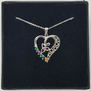 14ct White Gold Heart Pendant With Multi Coloured Synthetic Stones / Chain