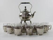 Jugendstil WMF Teekessel mit Rechaud und 12 Gläsern - Straußenmarke ~1909 museal