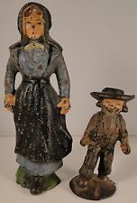 Antique Vintage Cast Iron Amish Woman and Boy