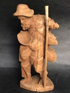 "12"" Tall Antique German Black Forest Carve Wood Man Cheese Farmer Bearded Figure"