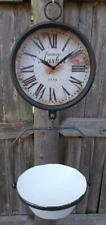 *OPEN BOX* Farmers Market Clock with Hanging Fruit Basket Vintage Scale Design