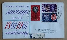SAVINGS BANK CENTENARY 1961 ILLUSTRATED FDC HULL YORKSHIRE CDS HANDSTAMP