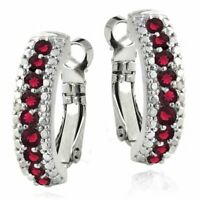 3.00 Ct  Ruby Leverback Earring Made with Swarovski Crystals in 18K Gold