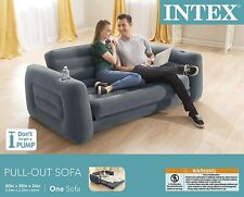 Dark Gray Queen Pull Out Sofa Bed Air Mattress Inflatable Couch Futon Sleeper