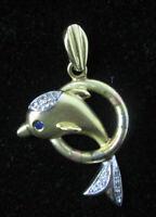Gorgeous 14k Dolphin Charm Pendant Solid Yellow White Gold Diamond & Sapphire
