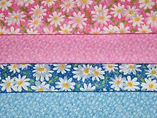 4 FQ Bundle – Pink & Blue Daisies 100% Cotton Quilt Fabric Fat Quarters