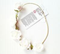 Haarband Blumen 20,5 cm H&M NEU weiß rosa grüne Blätter kinder