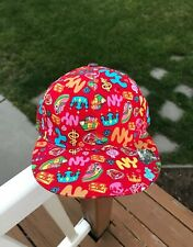 Vintage KB Ethos New York Multi Colored Mini Symbols Red Fitted Cap Hat M