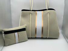 NEW Haute Shore GREYSON DUNE Tote Purse Beige / Linen / Rose Gold Stripe Bag