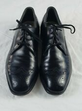 Vintage Wright Breather Black Wing Tip Extra Wide Leather Shoes Size 10 1/2 EEE
