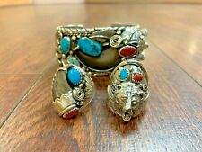 Huge Sterling Silver Turquoise Bear Claw Feather Cuff Bracelet & Ring Set!!!!