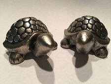 New 2 TURTLE KNOBS Silver Embossed Pulls Nautical Handles Sea Beach