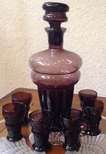 Vintage Amethyst / Purple Brandy Decanter With 6 Cordial Glasses