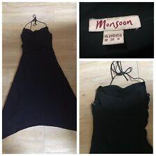 Monsoon Black Halterneck Maxi Evening Dress size 10 Eur 38 Wedding (A138)