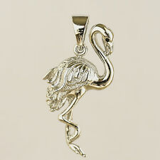 FLAMINGO PENDANT NECKLACE SOLID 925 STERLING SILVER  EXOTIC BIRD NEW