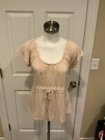 Ric Rac Anthropologie Light Tan Top W/ Lace Ruffle Trim, Size M