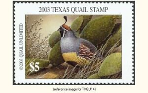 Texas Quail Unlimited Stamp 2003 $5 *SALE*
