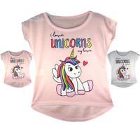 Girls Emoji Emoticons Unicorn T-Shirt Tee Top I Love Unicorns My Love Age 3-14