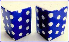 Blue Dots Salt & Pepper Set Porcelain Square Blue Cruet Set Hand Decorated UK