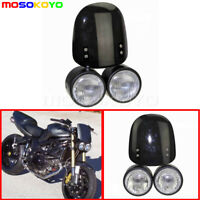 Motorcycle CNC Black Dominator Twin Headlight & Windscreen For Suzuki KTM Honda