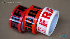 72 Rolls ORANGE RED Fragile Tape 66M x 48mm 66 meter Packaging Packing Tape 45U