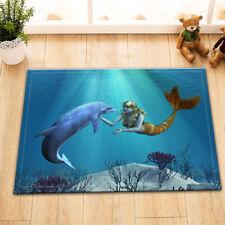 Undersea Mermaid & Dolphin Area Rug Non-skid Kitchen Door Mat Room Floor Carpet